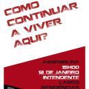 """Cartaz da Frente Anti-Despejos - """"Como continuar a viver aqui?"""" Sábado, dia 12 de Janeiro, às 15h no Largo Intendente"""